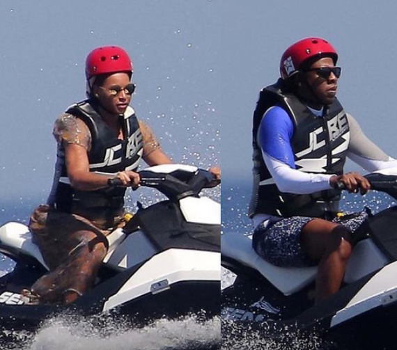 Beyonce & Jay Z Jet Ski in Italy [VIDEO]