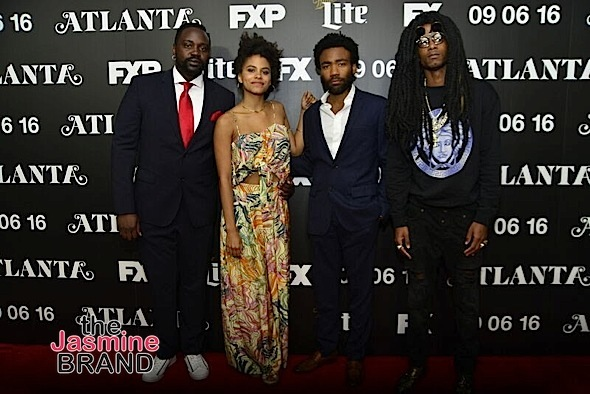 Cast members Brian Tyree Henry, Zazie Beetz, Donald Glover, and Lakeith Stanfield arrive on the carpet
