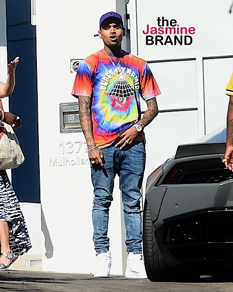 Chris Brown Leaves The Just Jared Summer Bash  Pictured: Chris Brown Ref: SPL1334936  130816   Picture by: Splash News  Splash News and Pictures Los Angeles:	310-821-2666 New York:	212-619-2666 London:	870-934-2666 photodesk@splashnews.com