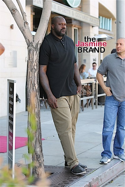 Shaquille O'Neal plays hide and seek after lunch at wolfgang in Beverly Hills.