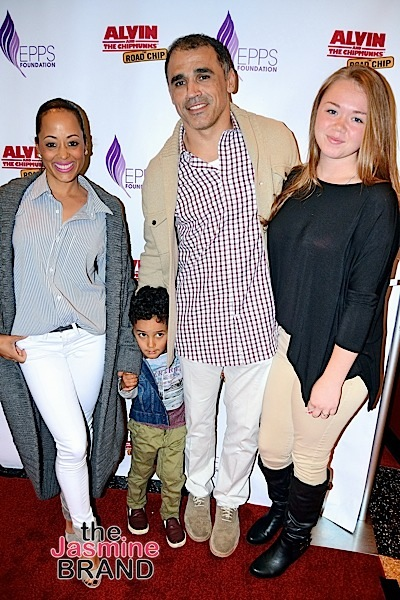 """Essence and her family at the """"Alvin and the Chipmunks: The Road Chip"""" Screening"""