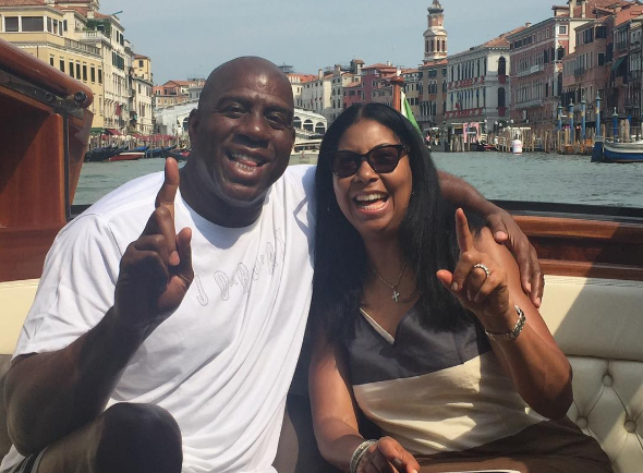Magic & Cookie Johnson celebrate 25th wedding anniversary in Venice