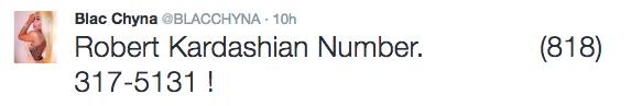 Blac Chyna Tweets Rob Kardashian's Number