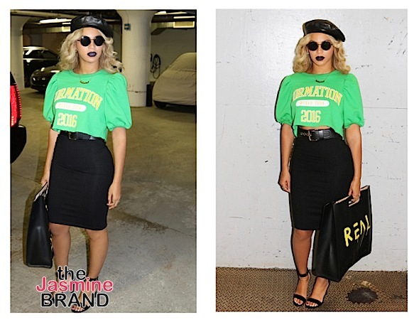 Beyonce Throws Up Black Power Fist, Wearing Gucci, Gianvito Rossi & Ivy Park Fashion