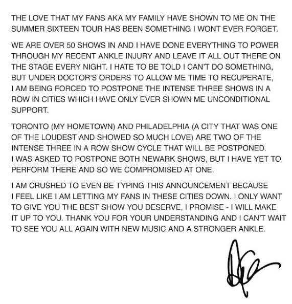 Ankel Injury Forces Drake To Postpone Summer 16 Tour
