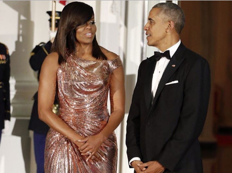 First Lady Fashion: Michelle Obama Stuns In Atelier Versace For Final State Dinner