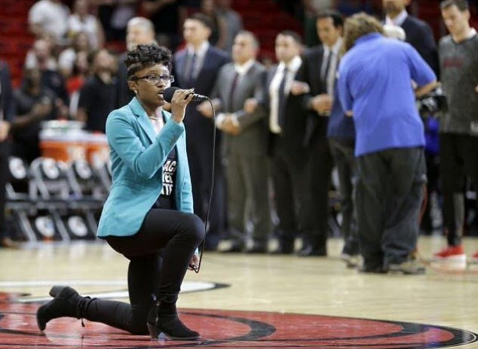 Singer Wears 'Black Lives Matter' Shirt, Kneels During National Anthem At Miami Heat Game