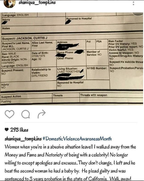 50 Cent's Baby Mama Shaniqua Tompkins Posts Domestic Violence Report: You're a woman beater!