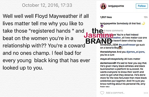 Jessica White Trashes Floyd Mayweather Over 'All Lives Matter' Remarks: You're a woman beater!