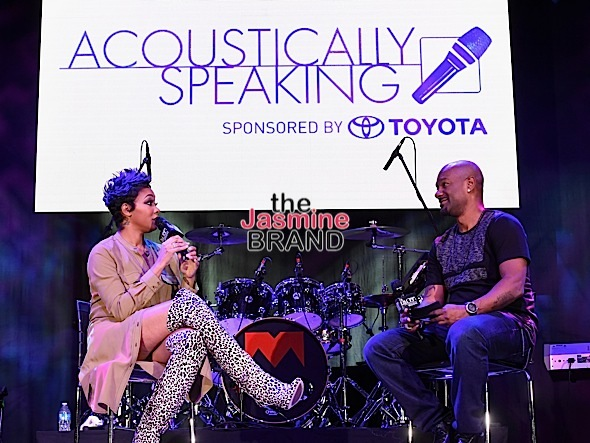 "LAS VEGAS, NV - NOVEMBER 03: Singer Monica is interviewed by host/television personality Big Tigger during ""Acoustically Speaking Sponsored by Toyota"" at the House of Blues during Soul Train Weekend on November 3, 2016 in Las Vegas, Nevada. (Photo by Paras Griffin/BET/Getty Images for BET)"