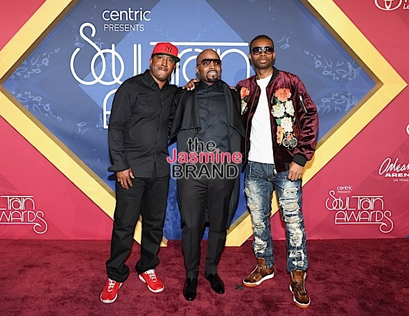 LAS VEGAS, NV - NOVEMBER 06: Recording artist Teddy Riley (C), musicians Markell Riley and Aqil Davidson of Wreckx-n-Effect attend the 2016 Soul Train Music Awards at the Orleans Arena on November 6, 2016 in Las Vegas, Nevada. (Photo by Ethan Miller/Getty Images)