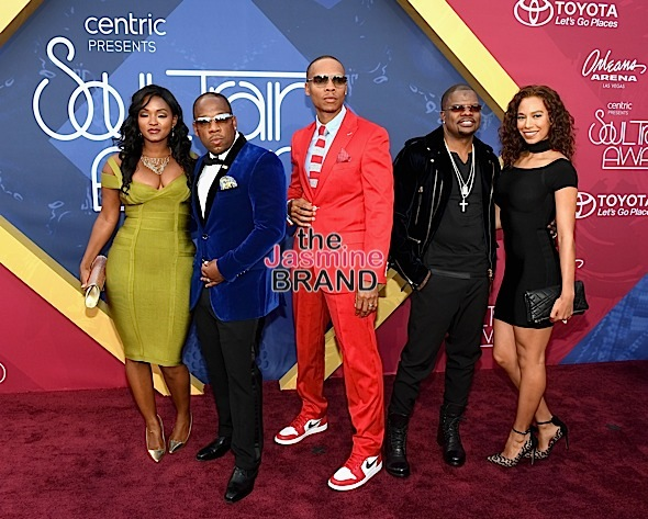 LAS VEGAS, NV - NOVEMBER 06: (L-R) Teasha Bivins, recording artists Michael Bivins, Ronnie DeVoe and Ricky Bell of Bell Biv DeVoe and New Edition and actress Amy Correa attends the 2016 Soul Train Music Awards at the Orleans Arena on November 6, 2016 in Las Vegas, Nevada. (Photo by Ethan Miller/Getty Images)