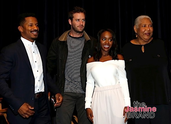 "LOS ANGELES, CA - NOVEMBER 7: (L-R) Actor/Director Nate Parker, actors Aja Naomi King and Esther Scott attend 48TH NAACP Image Awards Presents A Special Screening of ""Birth of A Nation"" at FOX Studios 