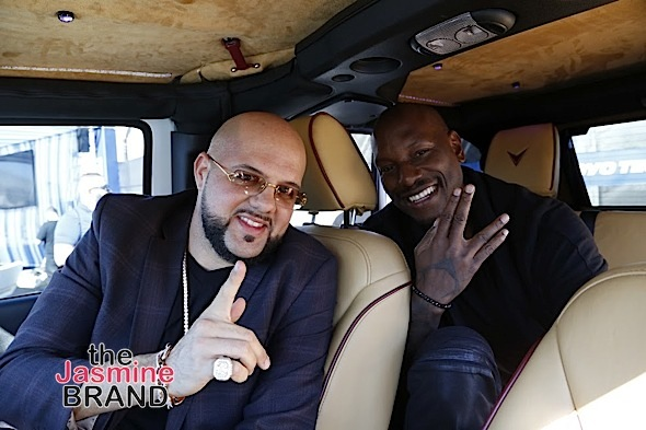 "LAS VEGAS, NV - NOV.4th: Josh ""Chop"" Towbin and Tyrese Gibson at Tyrese Gibson Launches Voltron Motors ""Rebel Jeep"" at SEMA Show at The Las Vegas Convention Center on Friday, November 4, 2016 in Las Vegas, Nevada. (Photo Courtesy of: Voltron Media/Arnold Turner)"