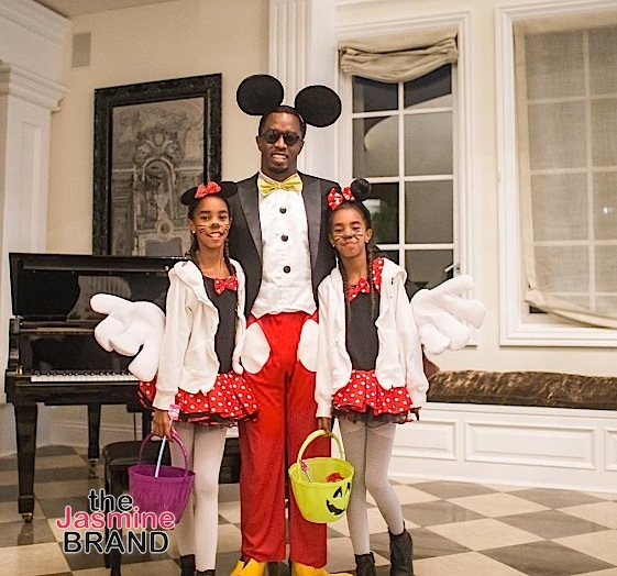Sean 'Diddy' Combs and his twin daughters channel their inner Mickey and Minnie Mouse.