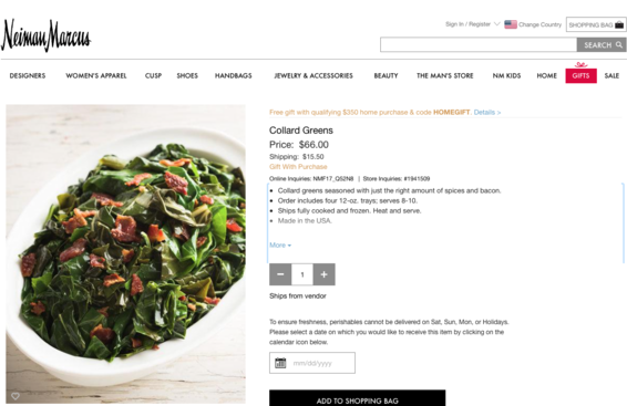 #GentrifiedGreens: Neiman Marcus Charges $66 For Collard Greens