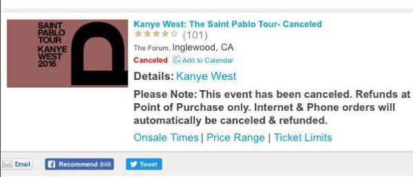Kanye West Allegedly Cancels Remaining US Pablo Tour Dates