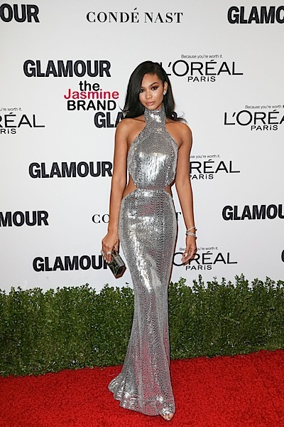 Model Chanel Iman, wearing Kaufman Franco