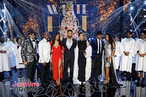 BEVERLY HILLS, CA - DECEMBER 08: On stage (L-R) October London, Taye Diggs, Taraji P. Henson, Jussie Smollett, Andra Day, Ne-Yo and Candice Boyd at Taraji's White Hot Holidays TV Special at the Saban Theatre as seen on Fox TV Thursday, December 8, 2016 in Beverly Hills, California. (Photo by A Turner Archives)
