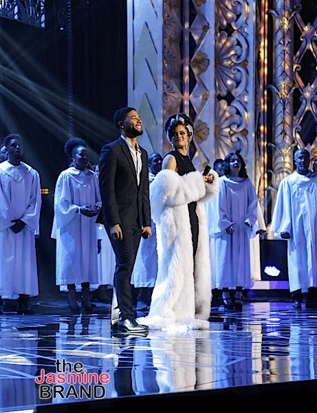 BEVERLY HILLS, CA - DECEMBER 08: On stage Jussie Smollett and Andra Day at Taraji's White Hot Holidays TV Special at the Saban Theatre as seen on Fox TV Thursday, December 8, 2016 in Beverly Hills, California. (Photo by A Turner Archives)