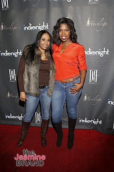 HOLLYWOOD, CA - DEC 3: Actress Jazsmin Lewis (For The Love of Christmas) and Nicki Micheaux seen at Indienight Film Festival 2016 Season Finale at TCL Chinese Theatre on Saturday, December 3rd, 2016 in Hollywood, California. (Photo by: A Turner Archives)