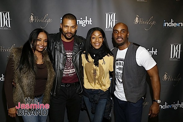 HOLLYWOOD, CA - DEC 3: Actress Jazsmin Lewis, Trae Ireland (For The Love of Christmas), Robi Reed and Dave Brown at Indienight Film Festival 2016 Season Finale at TCL Chinese Theatre on Saturday, December 3rd, 2016 in Hollywood, California. (Photo by: A Turner Archives)