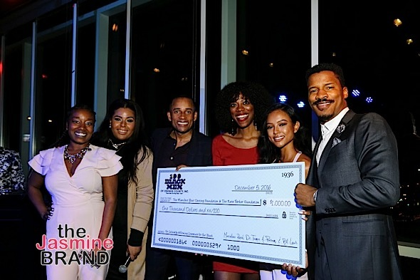 HOLLYWOOD, CA - DECEMBER 05: 100 Black Men of Orange County check presentation to Manifest Your Destiny Foundation at Hill Harper & Nate Parker 9th Annual Manifest Your Destiny Toy Drive & Fundraiser at the W Hotel on Tuesday, December 5, 2016 in Hollywood, California. (Photo by A Turner Archives)