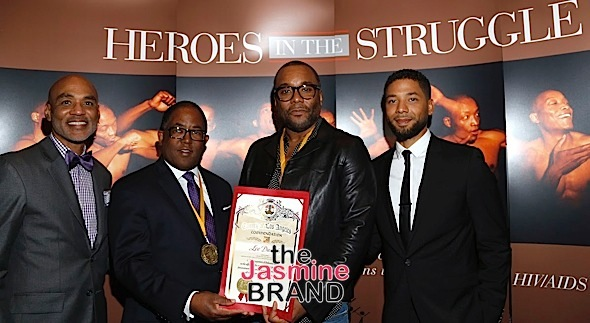 WEST HOLLYWOOD, CA - DECEMBER 01: Phill Wilson, founder the Black AIDS Institute, Mark Ridley-Thomas Honoree and member LA County Board of Supervisors, Honoree Lee Daniels and actor Jussie Smollett seen at the Heroes In The Struggle Gala at the Director's Guild Of America on Thursday, December 1, 2016 in West Hollywood, California. (Photo by A Turner Archives)