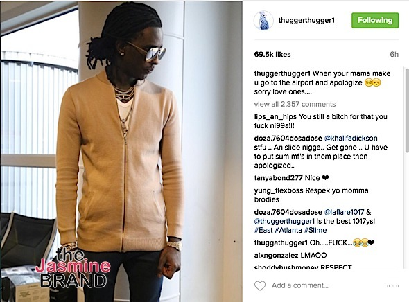Young Thug's Mother Made Him Apologize To Airline Employees [Photo]