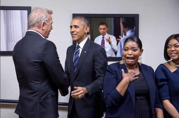 "POTUS Makes Surprise Visit to FLOTUS' ""Hidden Figures"" Screening + Octavia Spencer's Reaction Is Priceless! [Photos]"