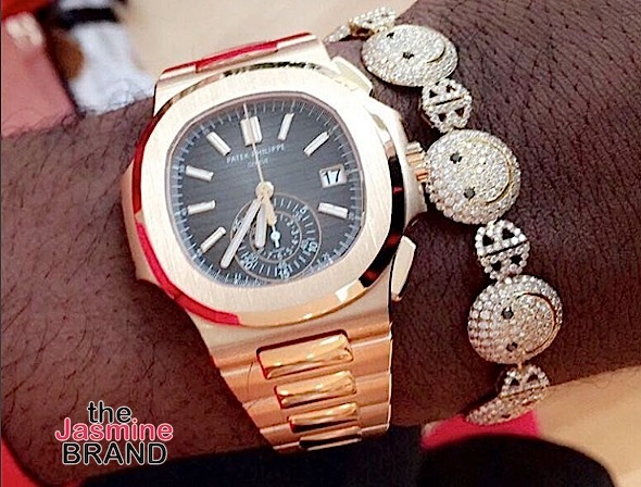 NBA baller Tristan Thompson shows off a new watch that he received from girlfriend Khloe Kardashian.
