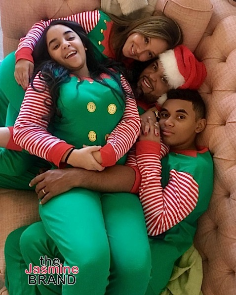 Newlyweds Adrienne Bailon, husband Israel Houghton and his two kids rock matching pj's.