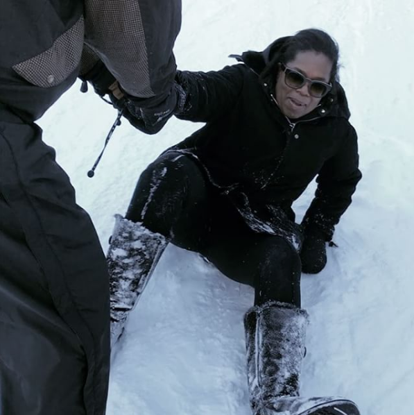 Ouch! Oprah Falls In the Snow [VIDEO]