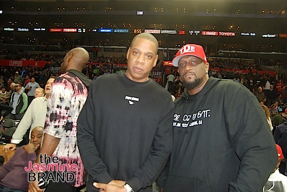 Jay Z And Chris Rock Sighted Watching Olate Dogs Perform at LA Clippers vs Golden State Warriors Half-time Show