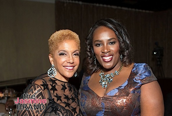 Andrea Richardson, Hilton Director of Multicultural and Diversity Marketing, and Linda Johnson Rice, EBONY Chairwoman Emeritus, at the 2016 Ebony Power 100 gala, which was held at the Beverly Hilton in Los Angeles. Hilton sponsored the Women Up category as a celebration of women in the media, community action, beauty, and fashion industries.