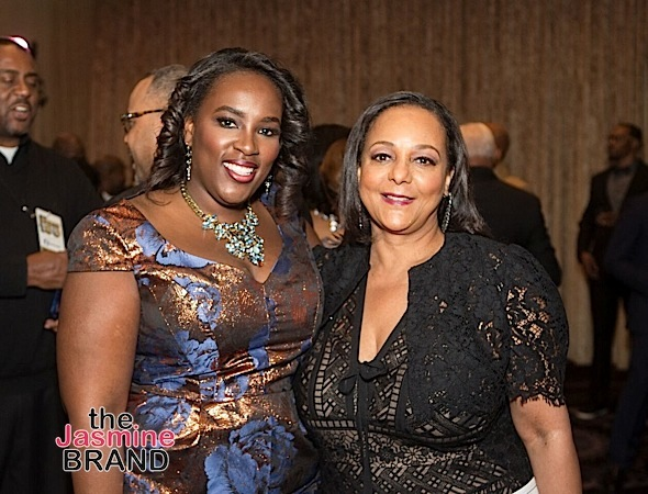 Andrea Richardson, Hilton Director of Multicultural and Diversity Marketing, and Cheryl Mayberry McKissack, EBONY CEO, at the 2016 Ebony Power 100 gala, which was held at the Beverly Hilton in Los Angeles. Hilton sponsored the Women Up category as a celebration of women in the media, community action, beauty, and fashion industries.