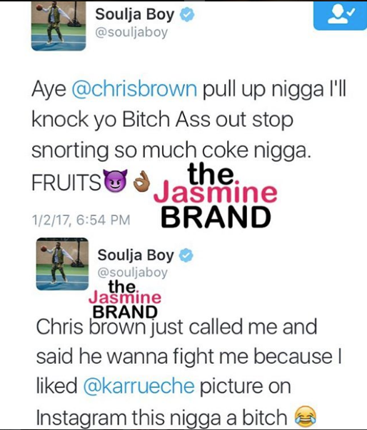 Soulja Boy Calls Chris Brown A Cocaine Snorting Woman Beater, Chris Responds + Karrueche Dragged Into Beef [VIDEO]