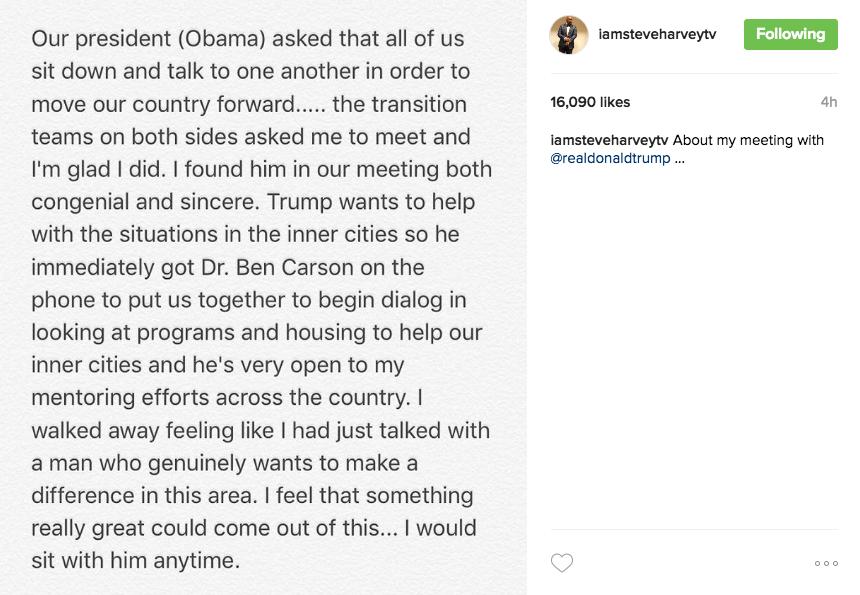 Steve Harvey Explains Why He Met With Trump