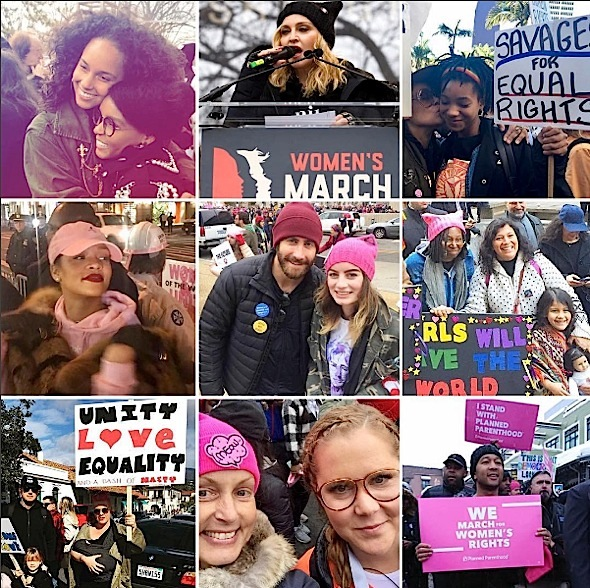 Celebs Attend Women's March: Rihanna, Alicia Keys, Madonna, Willow Smith, Chris Rock, Kerry Washington, Tracee Ellis Ross