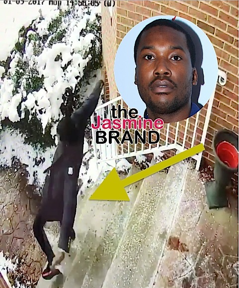 Ouch! Meek Mill Takes Tumble Down Icy Stairs [VIDEO]