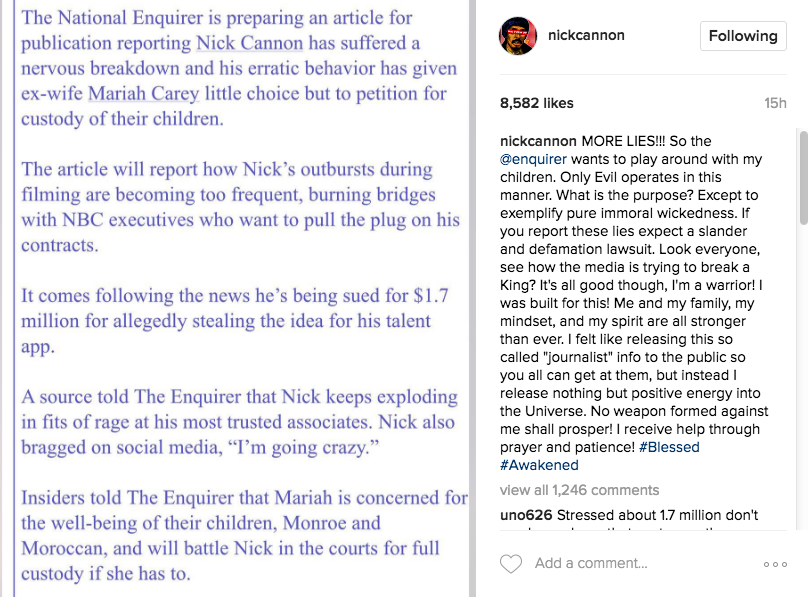 Nick Cannon Threatens To Sue Media Outlet