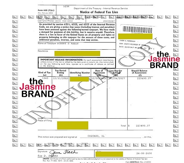 (EXCLUSIVE) R.Kelly - IRS Demands Singer Pay $223k in Back Taxes ASAP!