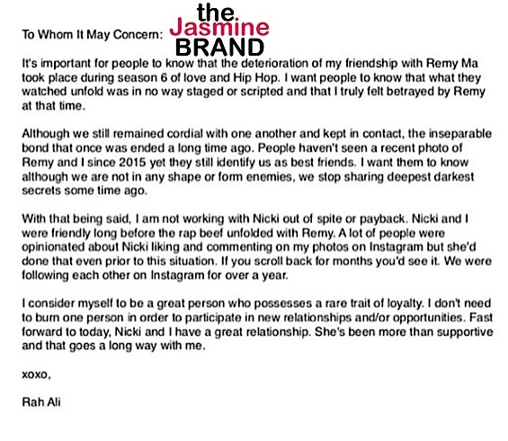 Rah Ali Defends Friendship With Nicki Minaj