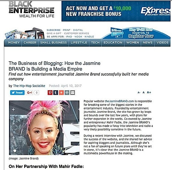 theJasmineBRAND Featured In 'Black Enterprise'