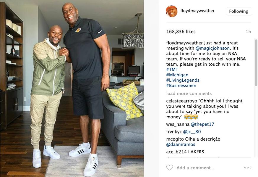 Floyd Mayweather Meets w/ Magic Johnson, Ready To Buy NBA Team