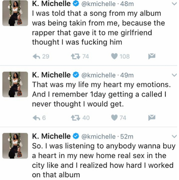K.Michelle Hints Nicki Minaj Took A Song From Her Over Meek Mill: She thought I was f**king him!