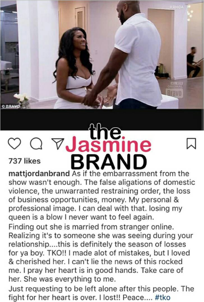 Kenya Moore Shares Wedding Photo, Ex Boyfriend Matt Jordan Accuses Her of Cheating