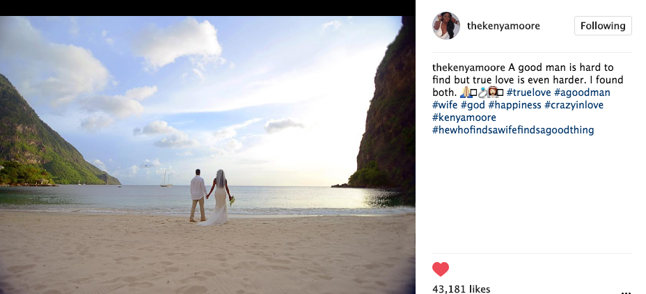 Kenya Moore Shares Wedding Photo, Ex Boyfriend Matt Jordan Accuses Her of Cheating