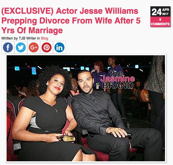 Jesse Williams Says Estranged Wife Restricting Time w/ Kids [Divorce Drama]