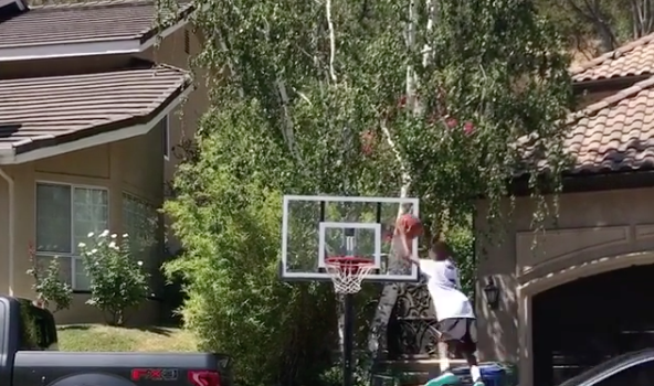 Yikes! Gilbert Arenas & Laura Govan's Son Jumps Off Moving Car To Dunk A Basketball